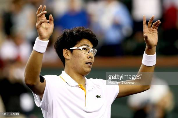 Hyeon Chung of Korea celebrates his win over Tomas Berdych of Czech Republic during the BNP Paribas Open at the Indian Wells Tennis Garden on March...