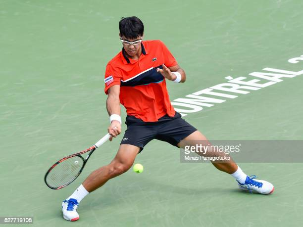 Hyeon Chung of Korea hits his return shot against Feliciano Lopez of Spain during day five of the Rogers Cup presented by National Bank at Uniprix...