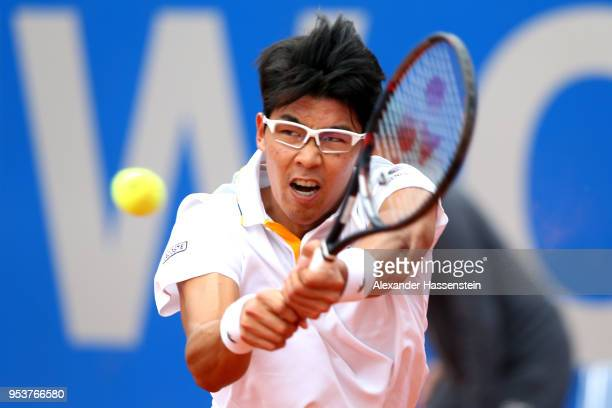 Hyeon Chung of Korea playa a back hand during his 2nd round match against Matthias Bachinger of Germany on day 5 of the BMW Open by FWU at MTTC...
