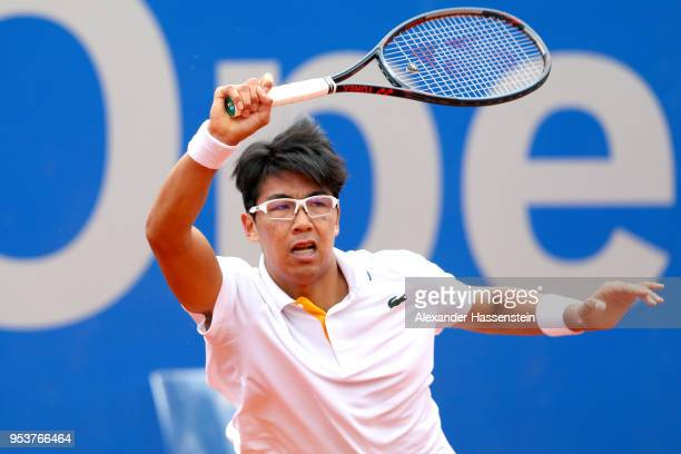 Hyeon Chung of Korea playa a fore hand during his 2nd round match against Matthias Bachinger of Germany on day 5 of the BMW Open by FWU at MTTC...