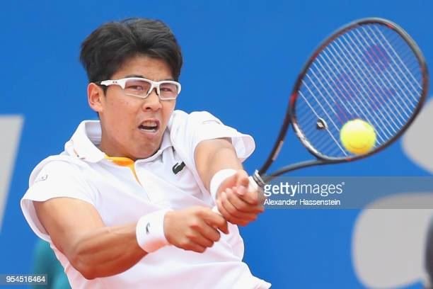 Hyeon Chung of Korea plays a back hand during his 3rd round match against Martin Klizan of Slovakia on day 7 of the BMW Open by FWU at MTTC IPHITOS...