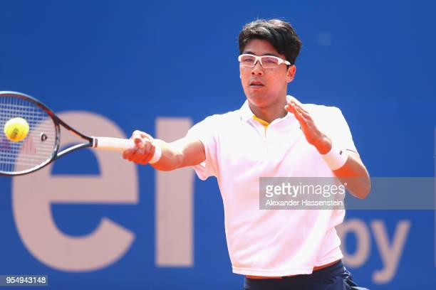 Hyeon Chung of Korea plays a fore hand during the semifinal match against Alexander Zverev of Germany on day 8 of the BMW Open by FWU at MTTC IPHITOS...
