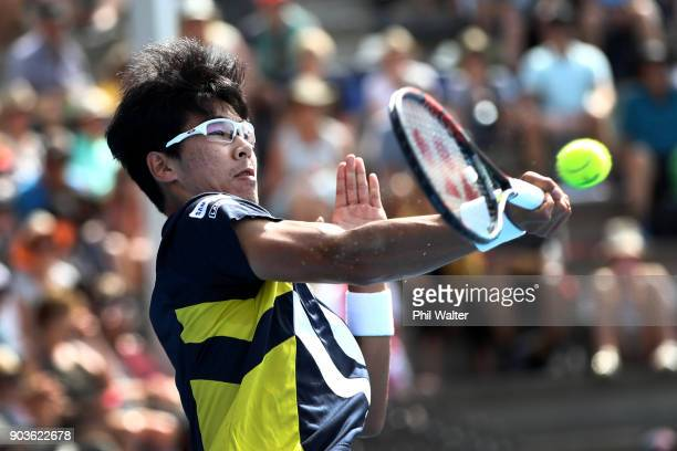 Hyeon Chung of Korea plays a forehand during his quarterfinal match against David Ferrer of Spain on day four of the ASB Men's Classic at ASB Tennis...