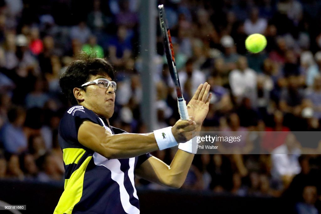 Hyeon Chung of Korea plays a forehand during his second round match against John Isner of the USA on day three of the ASB Men's Classic at ASB Tennis Centre on January 10, 2018 in Auckland, New Zealand.