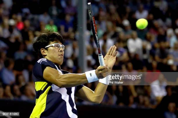 Hyeon Chung of Korea plays a forehand during his second round match against John Isner of the USA on day three of the ASB Men's Classic at ASB Tennis...