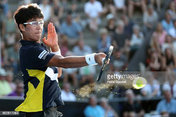 Hyeon Chung of Korea plays a forehand shot in his first round match against Tennys Sandgren of USA during day two of the ASB Men's Classic at ASB...