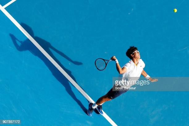 Hyeon Chung of Korea serves in his third round match against Alexander Zverev of Germany on day six of the 2018 Australian Open at Melbourne Park on...