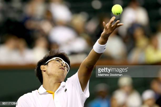 Hyeon Chung of Korea serves Tomas Berdych of Czech Republic during the BNP Paribas Open at the Indian Wells Tennis Garden on March 12 2018 in Indian...