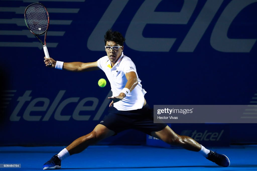 Hyeon Chung of Korea takes a forehand shot during the match between Hyeon Chung of Korea and Kevin Anderson of South Africa as part of the Telcel ATP Mexican Open 2018 on March 01, 2018 in Acapulco, Mexico.