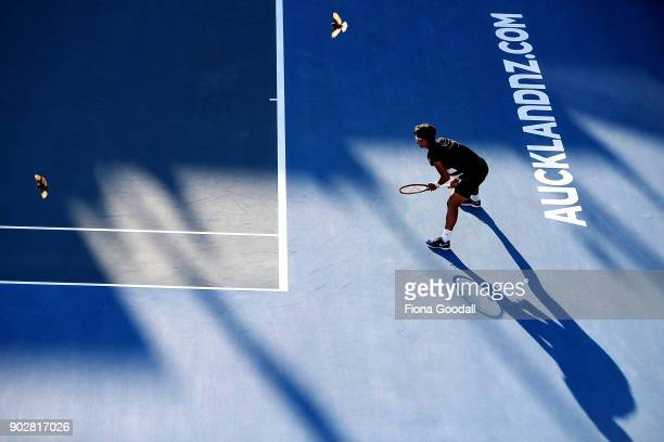 Hyeon Chung of Korea waits to recieve a serve in his first round match against Tennys Sandgren of USA during day two of the ASB Men's Classic at ASB...