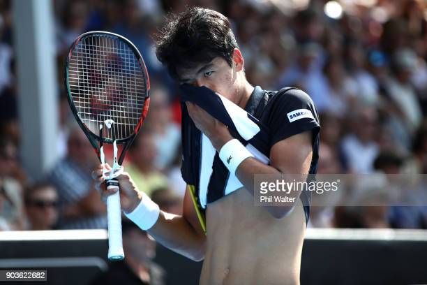 Hyeon Chung of Korea wipes his face during his quarterfinal match against David Ferrer of Spain on day four of the ASB Men's Classic at ASB Tennis...