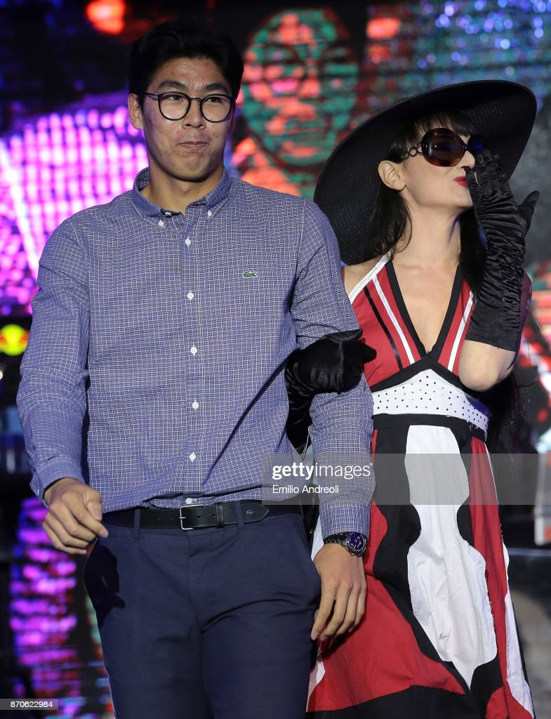 Hyeon Chung of South Korea (L) attends the Next Gen ATP Final draw ceremony during the NextGen ATP Finals Launch Party on November 5, 2017 in Milan, Italy.