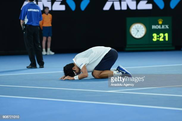 Hyeon Chung of South Korea celebrates after his match against Novak Djokovic of Serbia on day eight of the 2018 Australian Open at Melbourne Park on...
