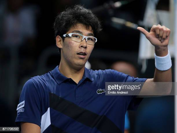 Hyeon Chung of South Korea celebrates the victory at the end of the match against Andrey Rublev of Russia during Day 2 of the Next Gen ATP Finals on...