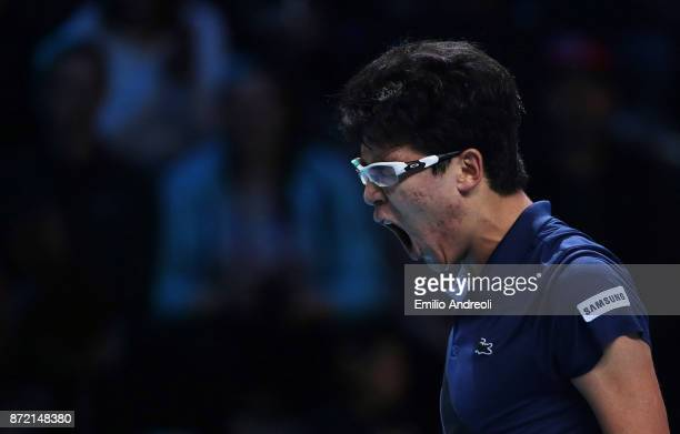Hyeon Chung of South Korea celebrates the victory at the end of the match against Gianluigi Quinzi of Italy during Day 3 of the Next Gen ATP Finals...