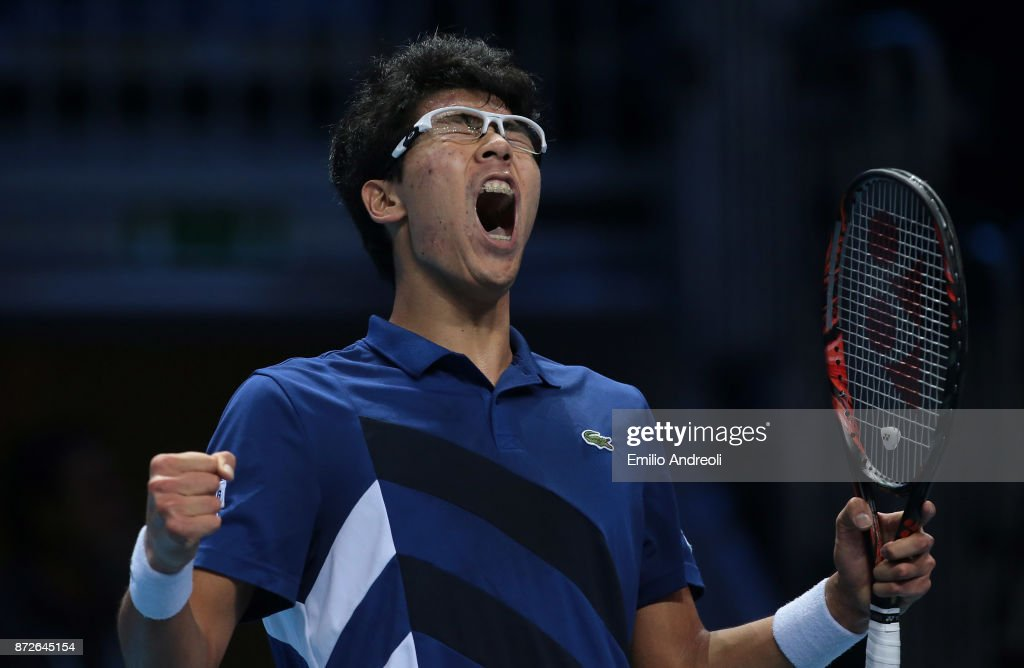 Hyeon Chung of South Korea celebrates the victory at the end of the match against Daniil Medvedev of Russia during the semi finals on day 4 of the Next Gen ATP Finals on November 10, 2017 in Milan, Italy.