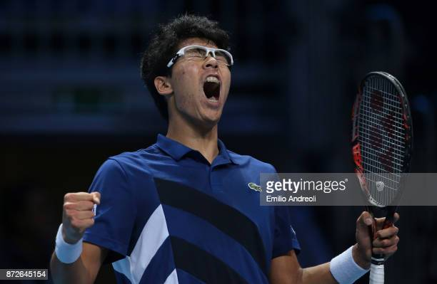 Hyeon Chung of South Korea celebrates the victory at the end of the match against Daniil Medvedev of Russia during the semi finals on day 4 of the...