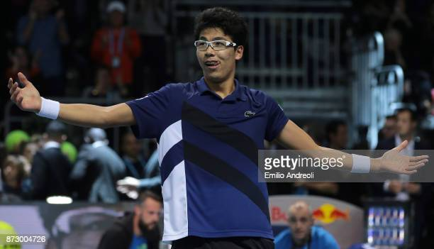 Hyeon Chung of South Korea celebrates the victory at the end of the match against Andrey Rublev of Russia during the mens final on day 5 of the Next...