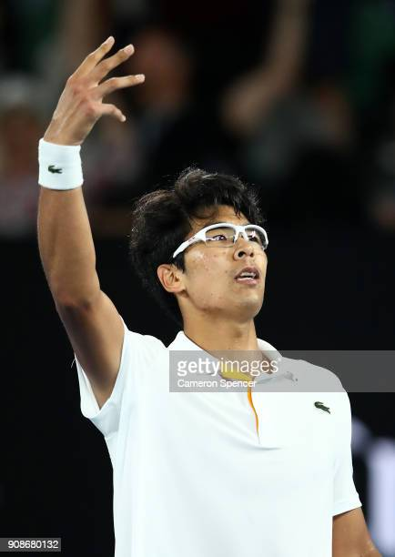 Hyeon Chung of South Korea celebrates winning a point in his fourth round match against Novak Djokovic of Serbia on day eight of the 2018 Australian...