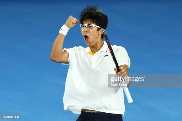 Hyeon Chung of South Korea celebrates winning a point in his fourth round match against Novak Djokovic of Serbiaon day eight of the 2018 Australian...