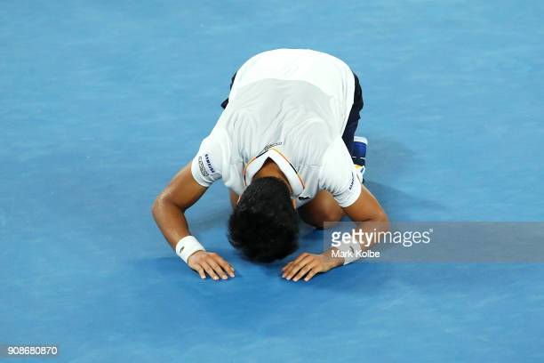 Hyeon Chung of South Korea celebrates winning his fourth round match against Novak Djokovic of Serbiaon day eight of the 2018 Australian Open at...