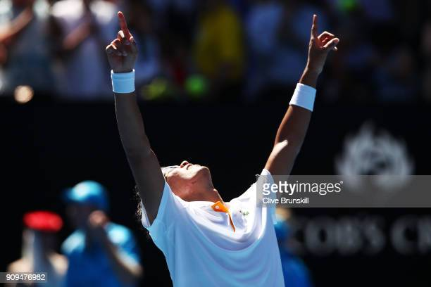 Hyeon Chung of South Korea celebrates winning his quarterfinal match against Tennys Sandgren of the United States on day 10 of the 2018 Australian...