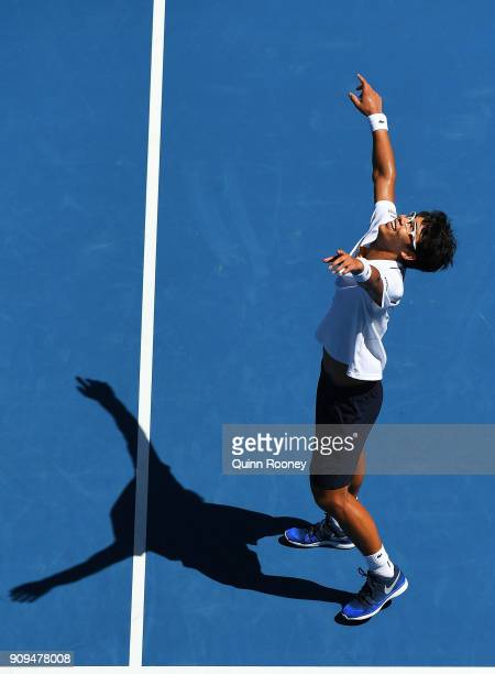 Hyeon Chung of South Korea celebrates winning his quarter-final match against Tennys Sandgren of the United States on day 10 of the 2018 Australian...
