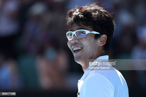 Hyeon Chung of South Korea celebrates winning match point in his quarterfinal match against Tennys Sandgren of the United States on day 10 of the...