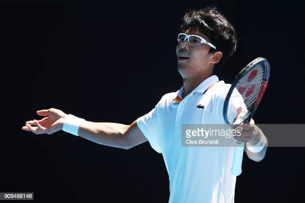 Hyeon Chung of South Korea celebrates winning the second set in his quarter-final match against Tennys Sandgren of the United States on day 10 of the...