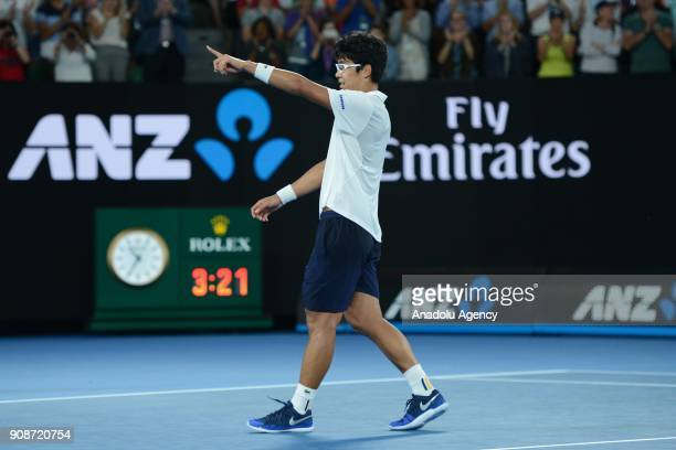 Hyeon Chung of South Korea gestures during his match against Novak Djokovic of Serbia on day eight of the 2018 Australian Open at Melbourne Park on...