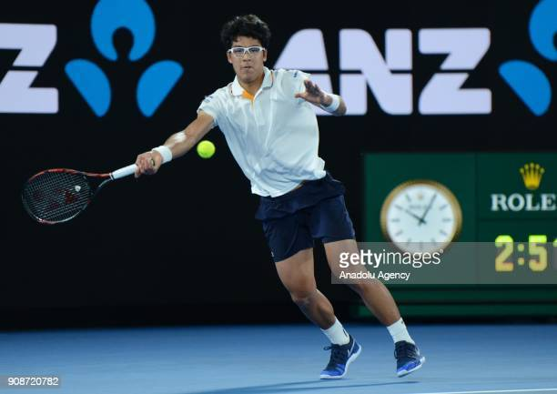 Hyeon Chung of South Korea in action against Novak Djokovic of Serbia on day eight of the 2018 Australian Open at Melbourne Park on January 22 2018...