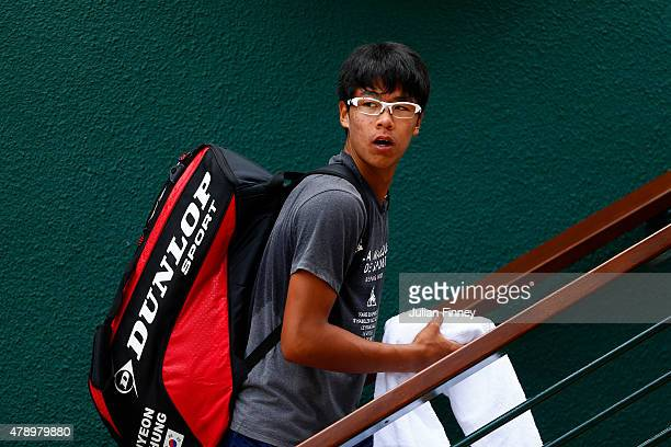 Hyeon Chung of South Korea is seen during day one of the Wimbledon Lawn Tennis Championships at the All England Lawn Tennis and Croquet Club on June...