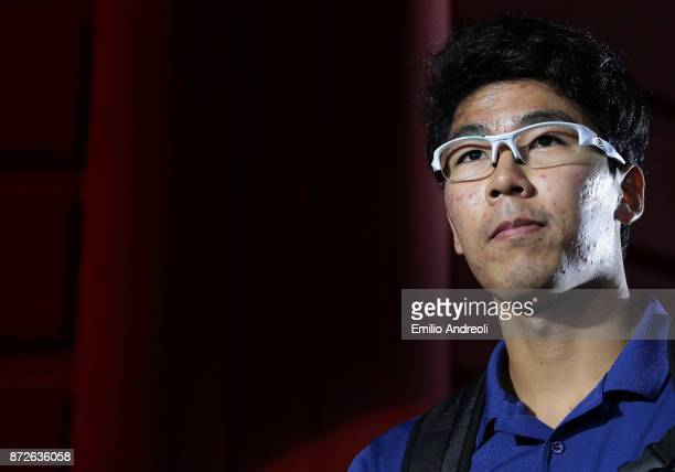Hyeon Chung of South Korea looks on prior the match against Daniil Medvedev of Russia during the semi finals on day 4 of the Next Gen ATP Finals on...