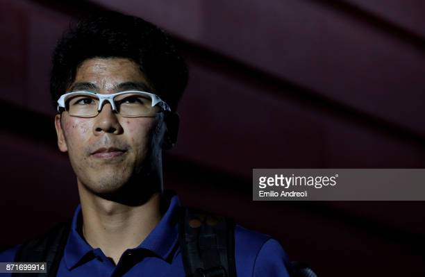 Hyeon Chung of South Korea looks on prior to the match against Andrey Rublev of Russia during Day 2 of the Next Gen ATP Finals on November 8 2017 in...