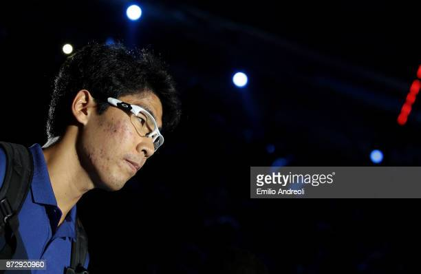 Hyeon Chung of South Korea looks on prior to the match against Andrey Rublev of Russia during the mens final on day 5 of the Next Gen ATP Finals on...