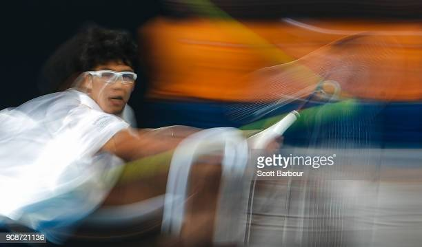 Hyeon Chung of South Korea plays a backhand in his fourth round match against Novak Djokovic of Serbia on day eight of the 2018 Australian Open at...