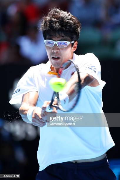 Hyeon Chung of South Korea plays a backhand in his quarter-final match against Tennys Sandgren of the United States on day 10 of the 2018 Australian...