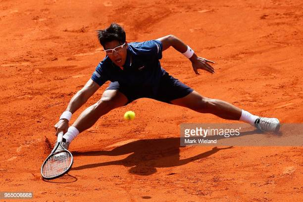 Hyeon Chung of South Korea plays a forehand against Alexander Zverev of Germany during day 8 of the BMW Open by FWU at MTTC IPHITOS on May 5 2018 in...
