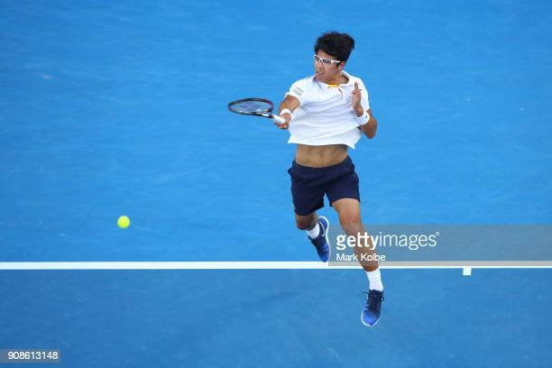 Hyeon Chung of South Korea plays a forehand in his fourth round match against Novak Djokovic of Serbia on day eight of the 2018 Australian Open at...