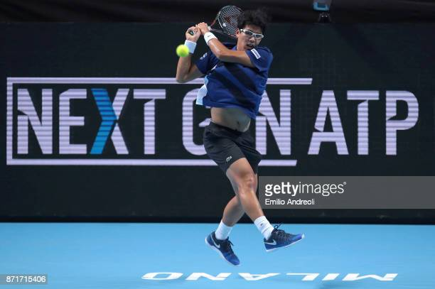 Hyeon Chung of South Korea returns a backhand in his match against Andrey Rublev of Russia during Day 2 of the Next Gen ATP Finals on November 8 2017...