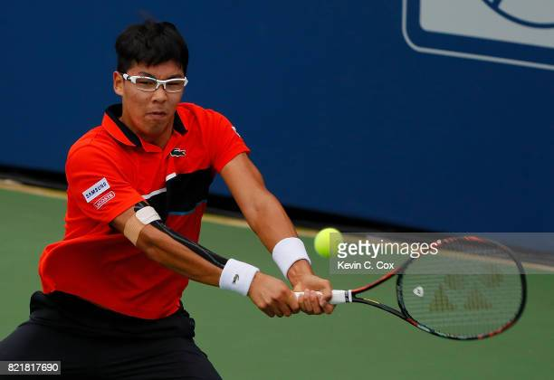 Hyeon Chung of South Korea returns a backhand to Tommy Paul during the BBT Atlanta Open at Atlantic Station on July 24 2017 in Atlanta Georgia