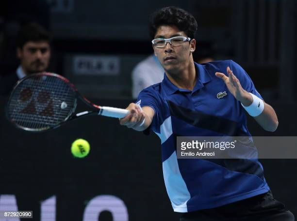 Hyeon Chung of South Korea returns a forehand against Andrey Rublev of Russia during the mens final on day 5 of the Next Gen ATP Finals on November...