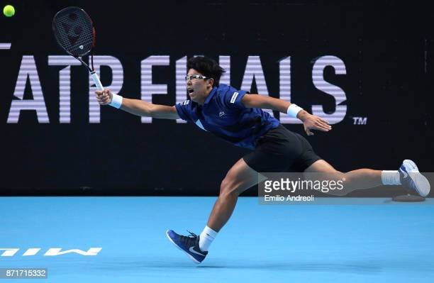 Hyeon Chung of South Korea returns a forehand in his match against Andrey Rublev of Russia during Day 2 of the Next Gen ATP Finals on November 8 2017...