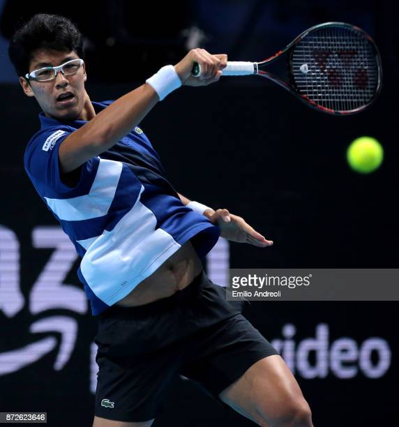 Hyeon Chung of South Korea returns a forehand in his match against Daniil Medvedev of Russia during the semi finals on day 4 of the Next Gen ATP...