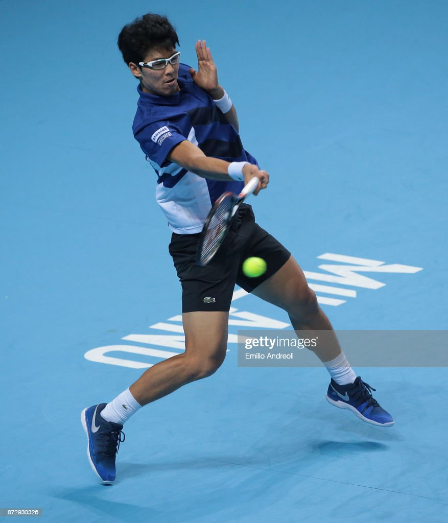 Hyeon Chung of South Korea returns a forehand in his match against Andrey Rublev of Russia during the mens final on day 5 of the Next Gen ATP Finals on November 11, 2017 in Milan, Italy.