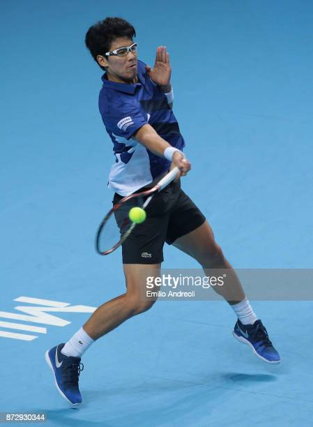 Hyeon Chung of South Korea returns a forehand in his match against Andrey Rublev of Russia during the mens final on day 5 of the Next Gen ATP Finals...