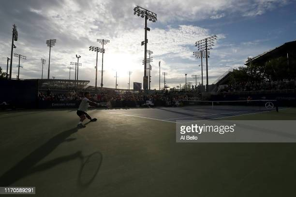 Hyeon Chung of South Korea serves against Ernesto Escobedo of the United States during their Men's Singles first round match on day two of the 2019...