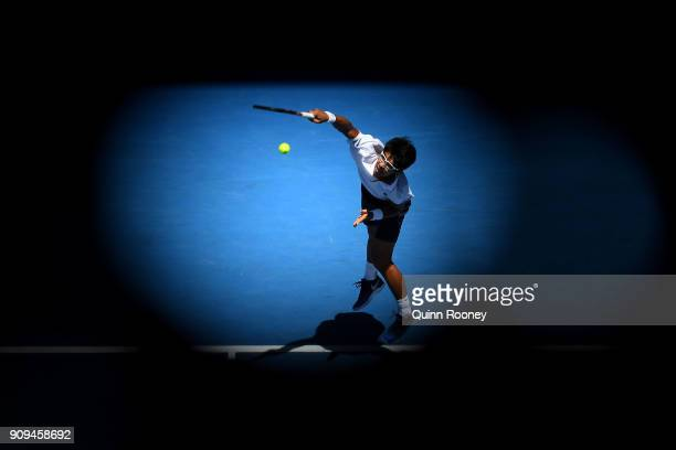 Hyeon Chung of South Korea serves in his quarter-final match against Tennys Sandgren of the United States on day 10 of the 2018 Australian Open at...