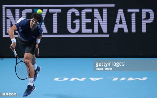 Hyeon Chung of South Korea serves the ball in his match against Andrey Rublev of Russia during the mens final on day 5 of the Next Gen ATP Finals on...