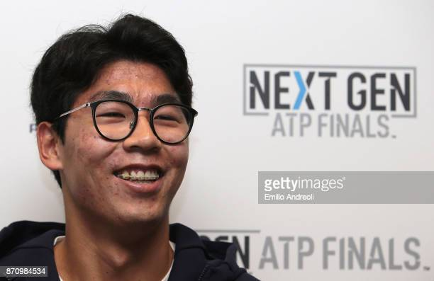 Hyeon Chung of South Korea smiles during the Next Gen ATP Finals Media Day on November 6 2017 in Milan Italy